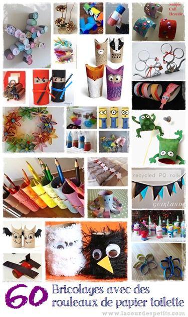 60 bricolages avec des rouleaux de papier toilette http://www.lacourdespetits.com/bricolage-avec-rouleau-papier-toilette/ #DIY #enfant #bricolage #rouleaux #carton