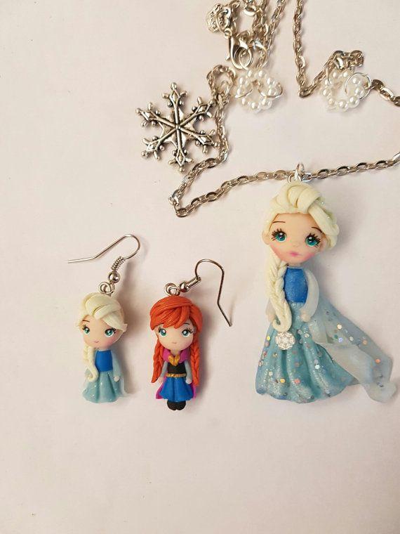 Collana Elsa e orecchini Elsa & Anna realizzati di GattaneraCrafts