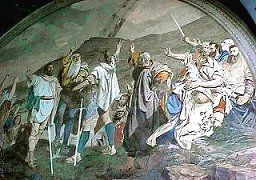 The oath of the confederates on Rütli  (fresco in Tell's chapel near Sisikon Lake Lucerne, Central Switzerland)