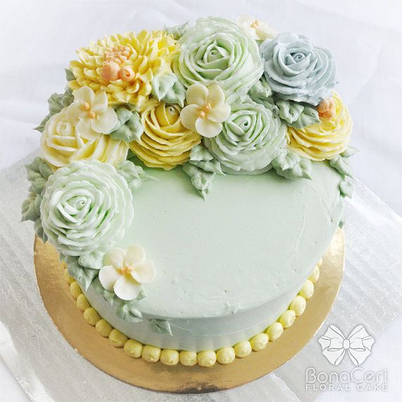 """Floral/Flower Buttercream Cake 6"""": Crescent Style"""