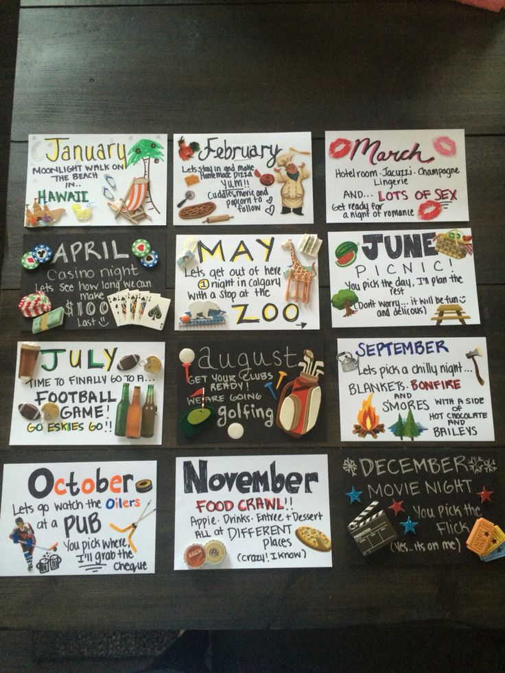 12 months of dates! Great for anniversary or birthday gift