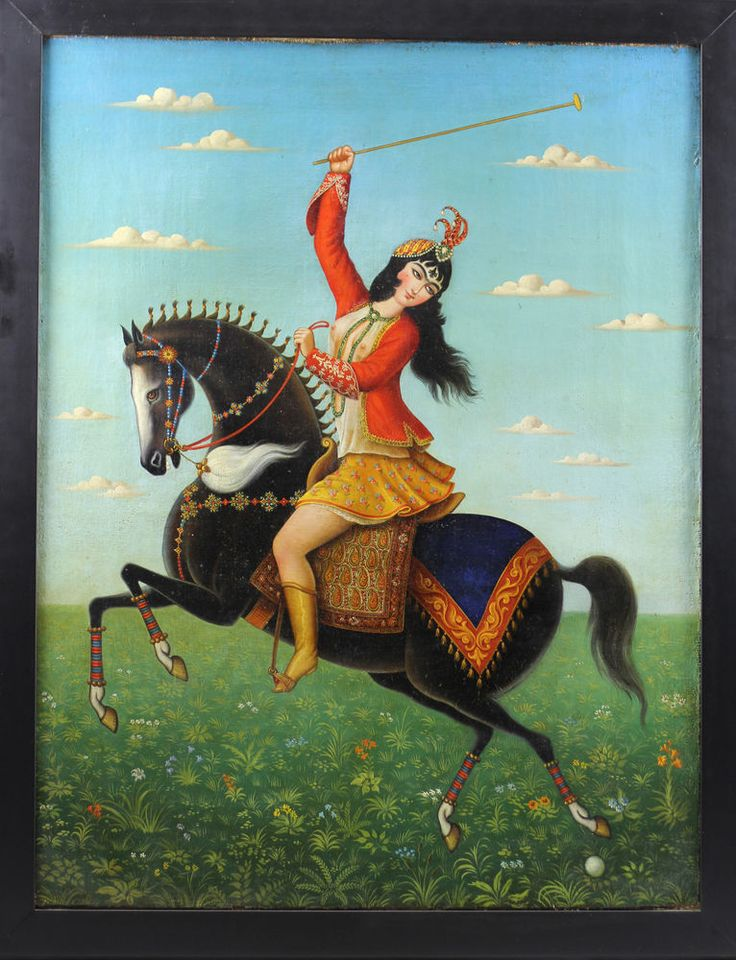 Authentic Qajar Oil Painting - Nude Woman playing Polo on Horse 19th Century