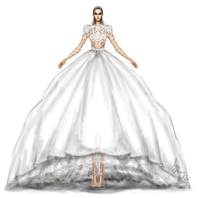 Vestido com manga comprida é uma tendência pra noivas - o do desenho é um Jean Louis Sabaji, especial pra quem gosta de volume!