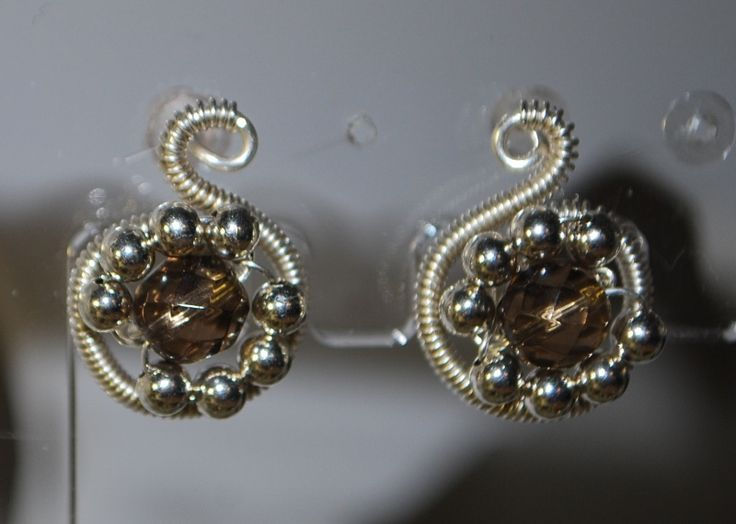 smokey quartz silver post earrings by Angelina Croft