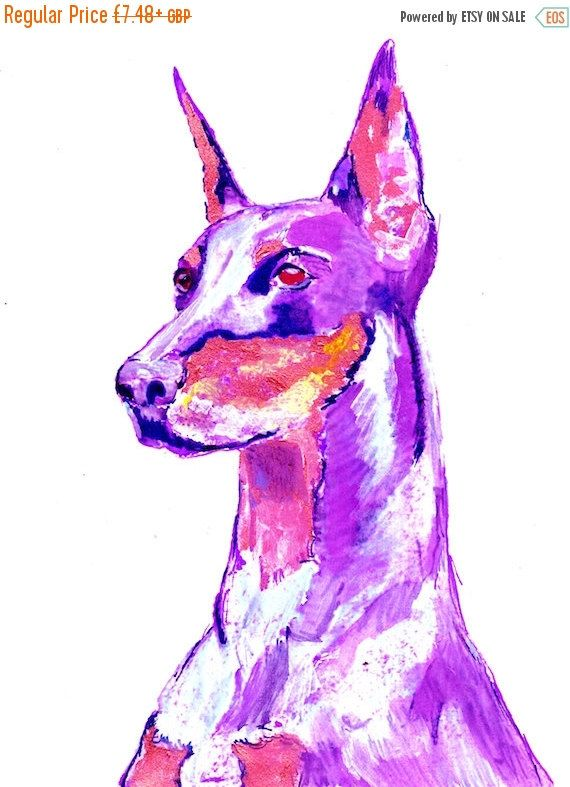 CYBER MONDAY SALE Pink Doberman Dog Painting, Funky Print of Original Art 21 x 29.7cm-holiday gift idea by OjsDogPaintings #dogs #etsy #art