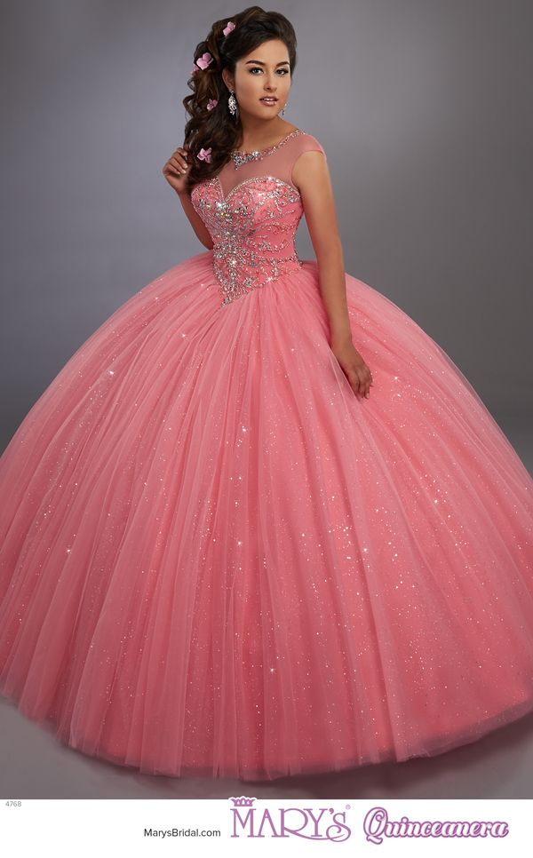 Beloving style 4768 • Sparkling tulle quinceanera ball gown with beaded illusion scoop neck, beaded bodice, basque waist line, and back with opening and lace-up closure.