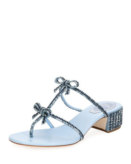 2f78a7a77 Beaded Denim Block-Heel Thong Sandal with Bows