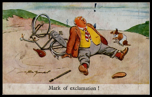 C1930 R Tuck Signed Comic Postcard Cycling Bicycle Tandem