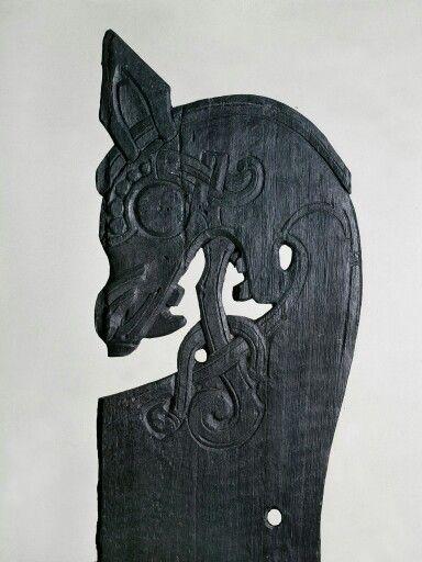 Oseberg Viking burial bed post.