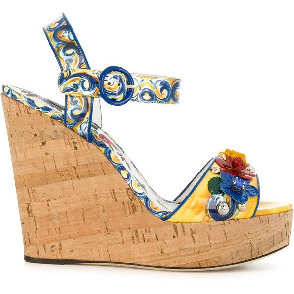Dolce & Gabbana Majolica print wedges ($1,195) ❤ liked on Polyvore featuring shoes, floral wedge shoes, wedges shoes, floral shoes, high heel wedge shoes and floral pattern shoes