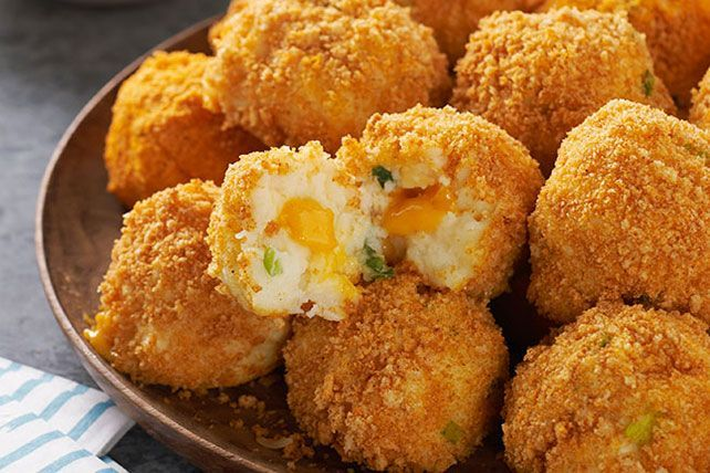 Crunchy, popable potato balls with an ooey gooey, cheesy center. Seriously. As if game day isn't enough fun already.