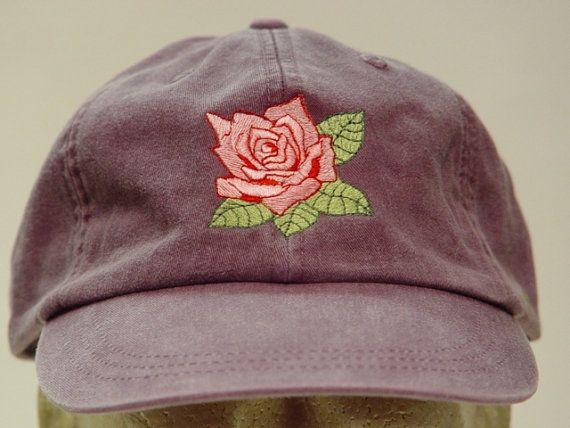 This Listing is for 1 - New Embroidered PINK ROSE JUNE FLOWER OF MONTH Garden HAT (HAT PICTURED IS WILD PLUM) Adams Optimum 6 Panel Baseball Hat