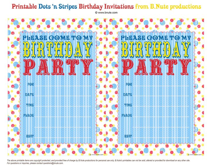 170 best free printable birthday party invitations images on, Party invitations