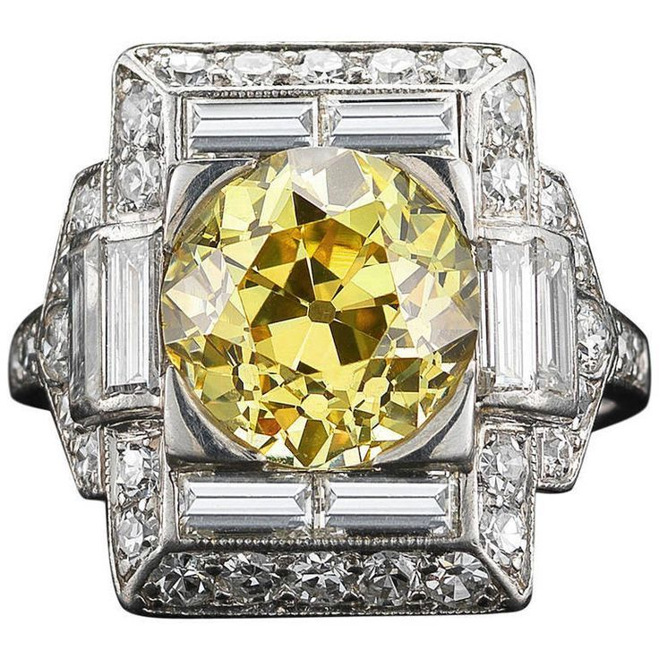 Jewelry Diamond : Art Deco Yellow Diamond Ring ca. 1920s