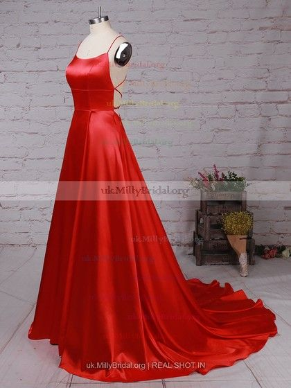 8df53f952c Satin Scoop Neck A-line Sweep Train Ruched Prom Dresses  UKM020105078