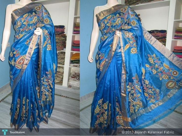 Beautiful Kota Silk With Hand Painted Kalamkari Applique Work In Rich Pallu And All Over Boarder, More Details Please Contact At Jayanthkalamkari@gmail.com in Crafts by Jayanth Kalamkari Fabric