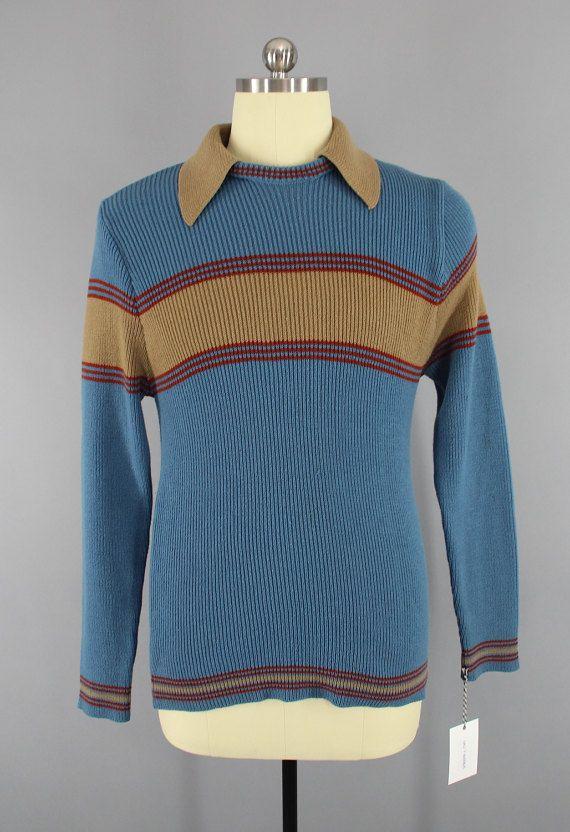 Vintage 1970s Men's Sweater / 70s Preppy Men's Knit Shirt / Blue & Brown Knit Polo Sweater / Mister Man  #VintagePoloShirt #1970sShirt #PreppyMenswear #MensSweater #KnitPoloShirt