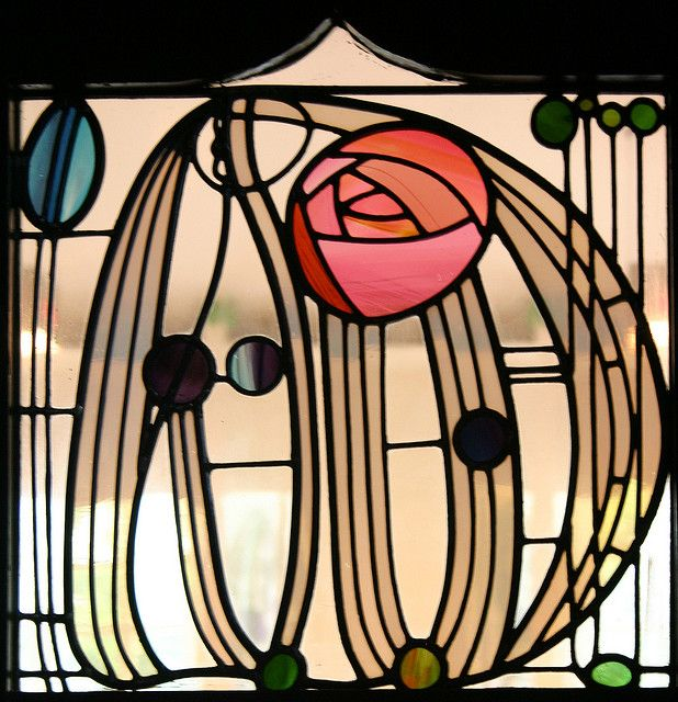 Good accent glass - this is the version of the Mackintosh rose in stained glass that we like