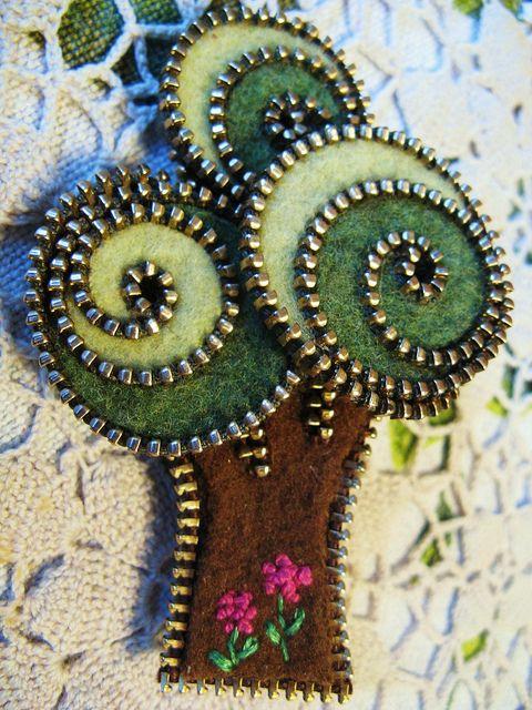 A little zipper tree brooch   Flickr - Photo Sharing!
