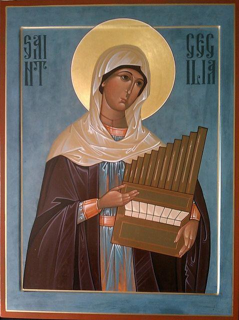 Saint Cecilia icon Very good textiles!