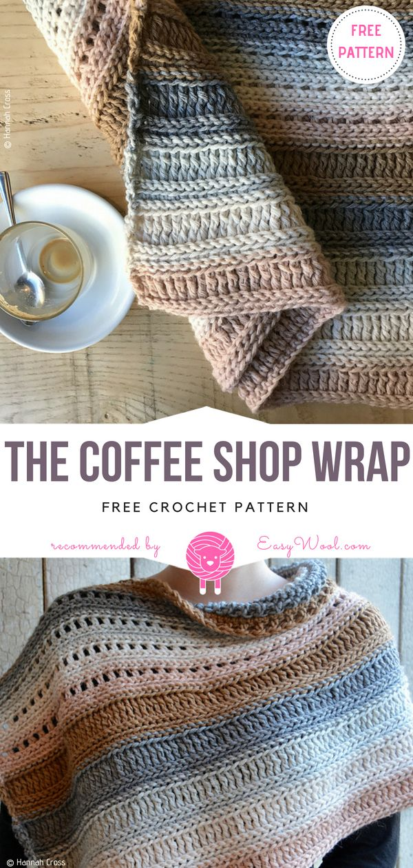 The Coffee Shop Wrap Free Crochet Pattern on easywool.com