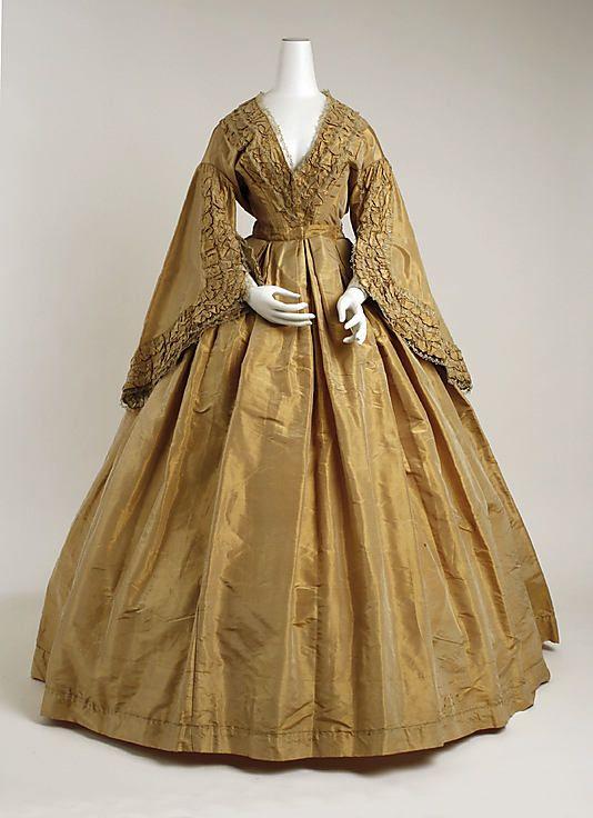 Silk morning dress 1859-60.  Graceful sleeves