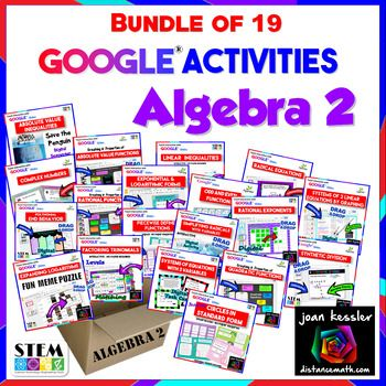 Bundle of 19 Interactive Algebra 2 Activities with Google® Slides, Paperless and No Prep for you. Engaging, fun learning for your students. I have bundled nineteen fun, engaging, interactive Algebra 2 activities together for you to get you started with 1:1 Paperless activities in your