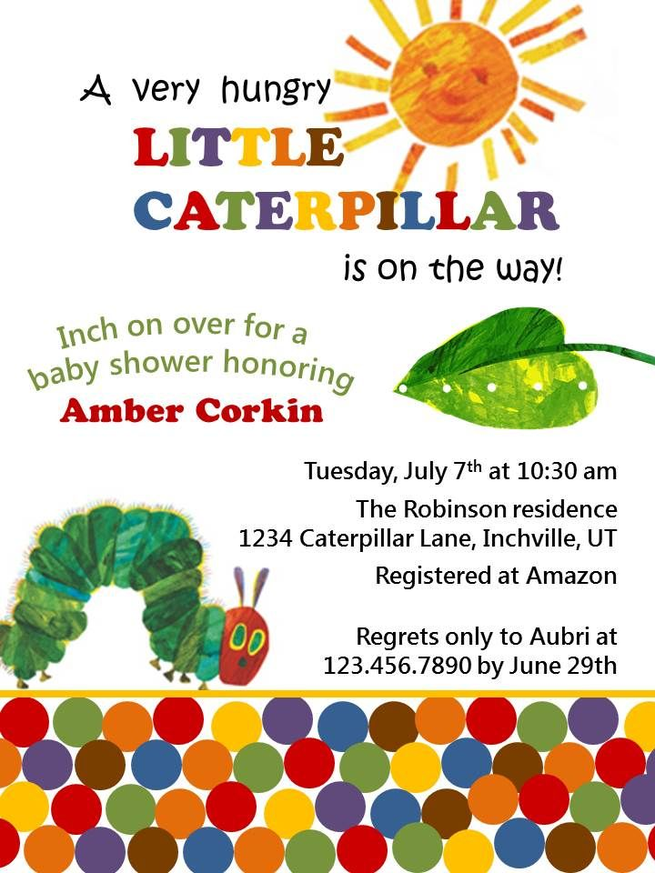 129 best hungry caterpillar birthday party images on pinterest, Baby shower invitations