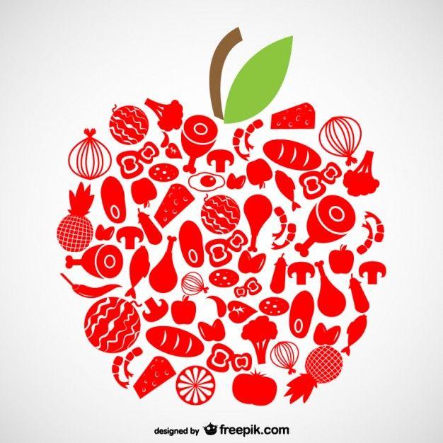 Símbolos de alimentos orgánicos.