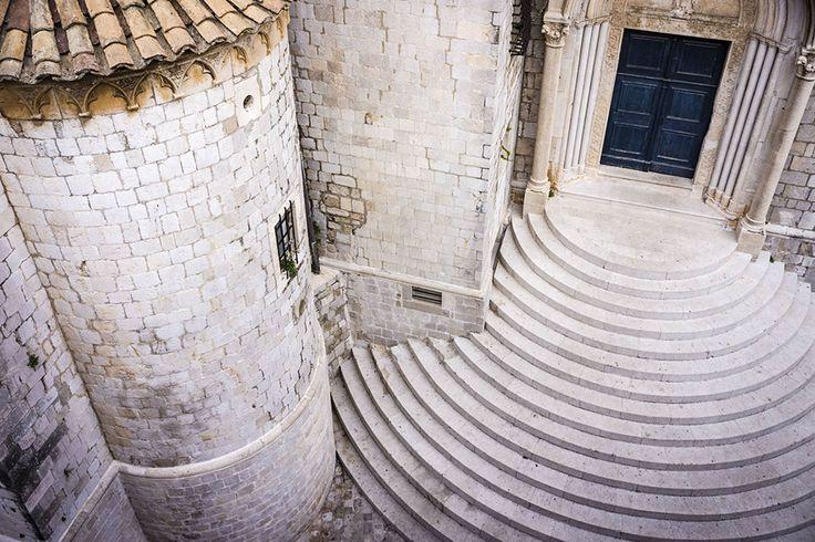 Stone steps outside old building, Dubrovnik.