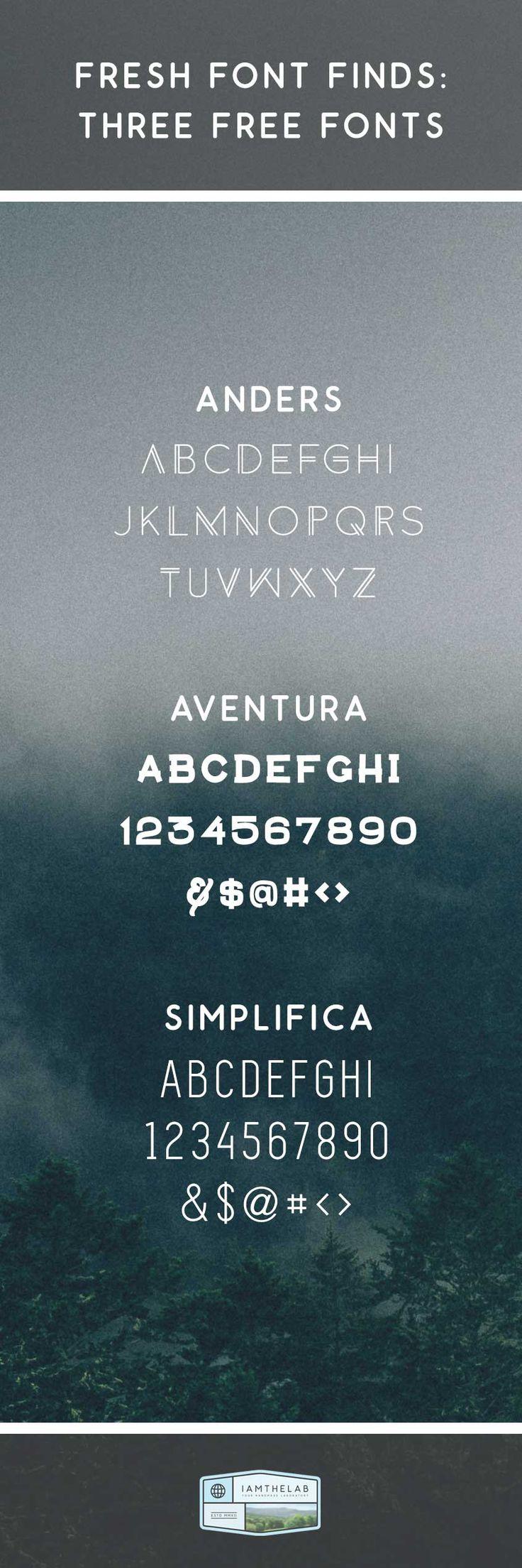 Get Inspired: September 15-19, 2014 Three Free Fonts: Anders, Aventura & Simplifica.