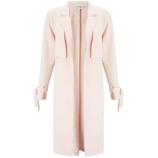 Miss Selfridge Blush Tie Sleeve Duster Coat (£85) ❤ liked on Polyvore featuring outerwear, coats, pink, duster coat, leather-sleeve coats, pink duster coat, miss selfridge coat and pink coat