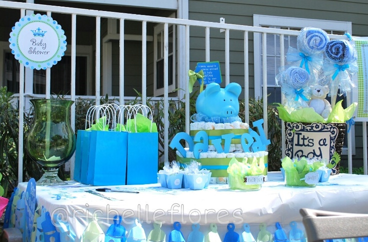 Baby Shower Cake Table Decoration Ideas : Baby shower for a boy decoration table with diaper cake ...