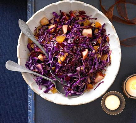 Cabbage, red onion, apple and beetroot - all the brightest purple fruit and veg makes up this winter salad with sweet vinaigrette