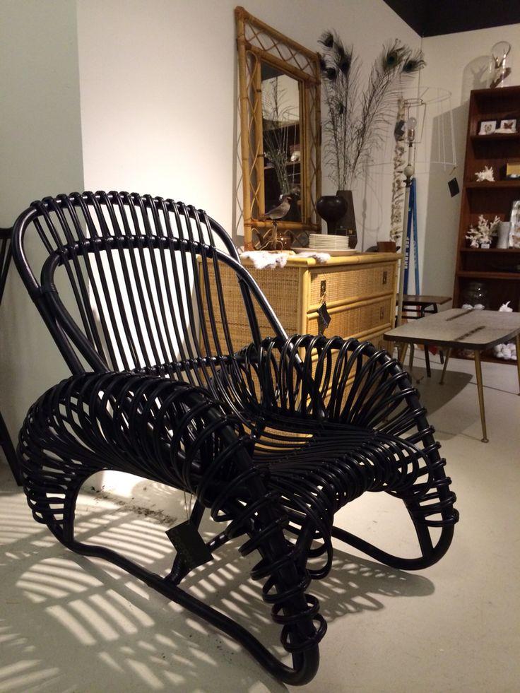 Rotan stoel in zwart vintage design 1952