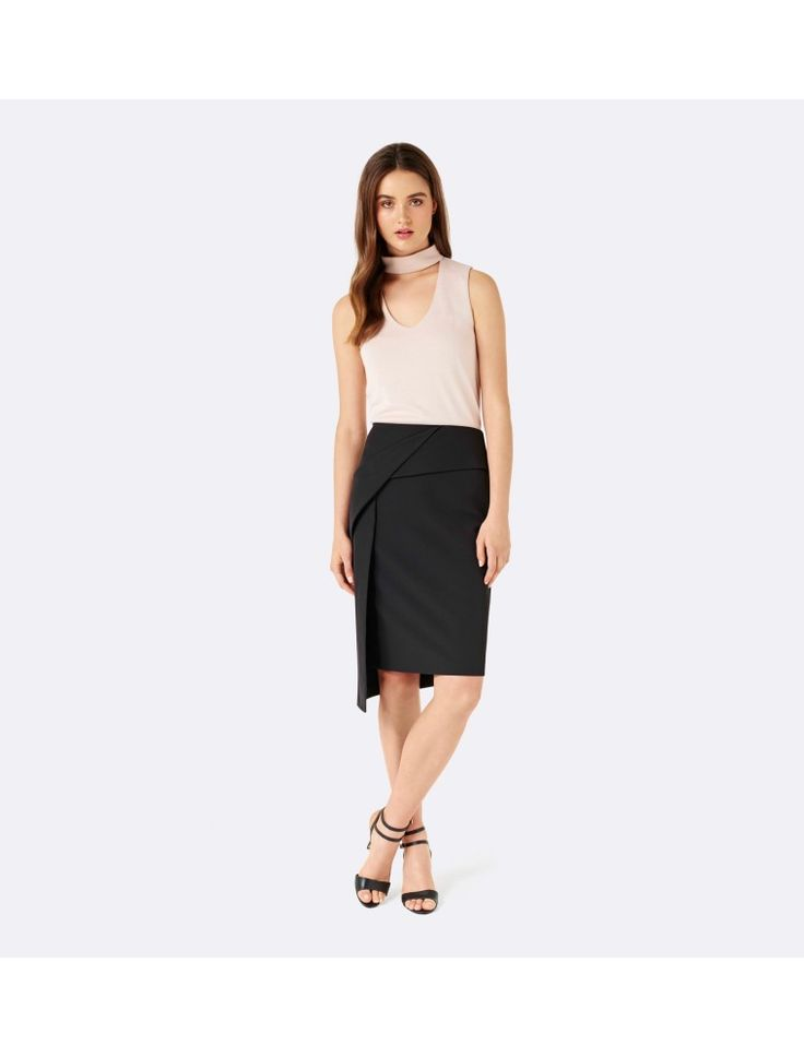 Gabby twist asymmetric skirt Black - Womens Fashion | Forever New