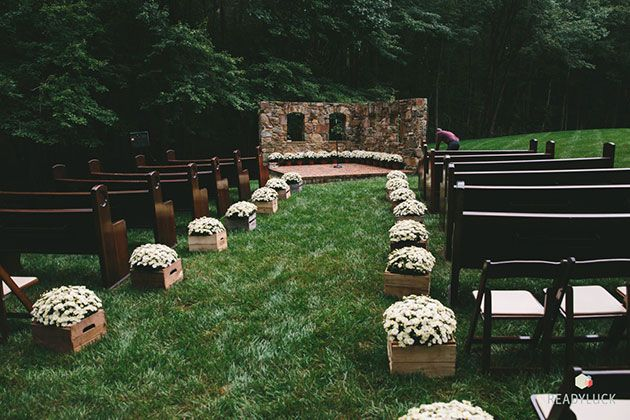Vintage-Inspired Fall Wedding in Maryland, Ceremony Space with White Mums in Apple Crates