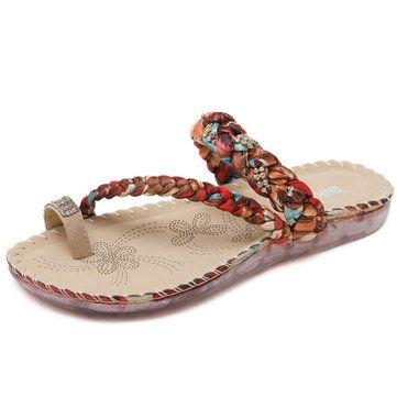 US Size 5-10 Women Bohemian Casual Beach Soft Flat Sandals
