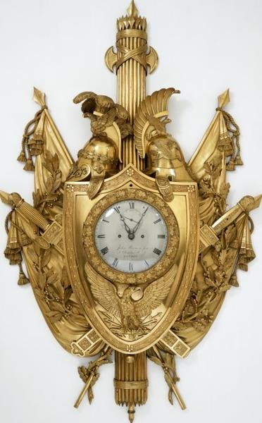 Gilt bronze, clock case, cast and chased. France c.1810. Movement and dial by John Moore & Son.
