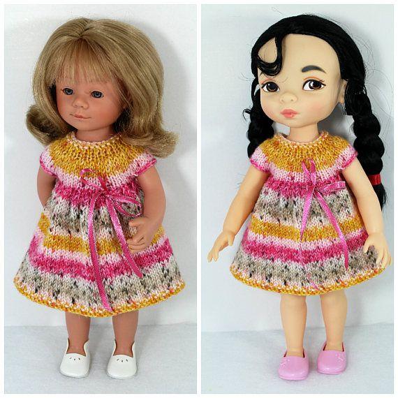 Knitted dress fordolls like Disney Princess Animators 16 inch