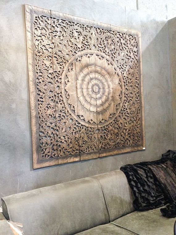 Balinese Wall decor, Carved Wood Wall Art Panel, Wall Hanging, Teak Paneling, Wall sculpture. Oriental design.  (6'x6' ft)