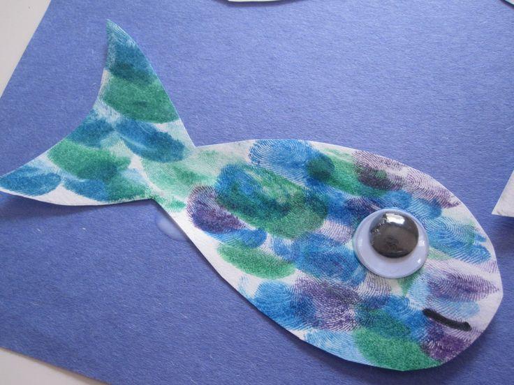Finger Print Fish CraftFingerprints Fish, Fingers Prints, Googly Eye, Ink Pads, Fish Crafts, Sea Crafts, Fish Preschool Crafts, Fingerprints Art, Preschool Crafts The Sea