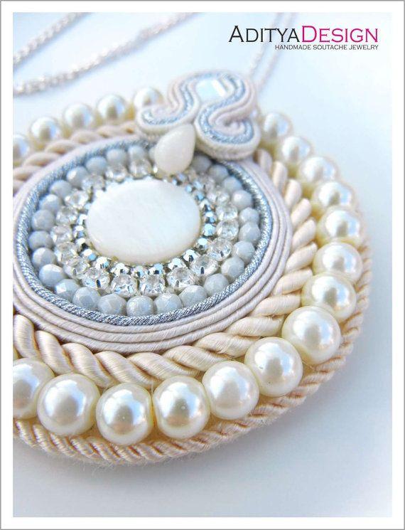 Handmade Soutache Necklace Pendant White Cream by AdityaDesign