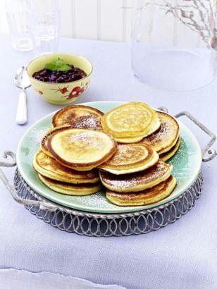 Pancakes mit Blaubeersoße Rezept