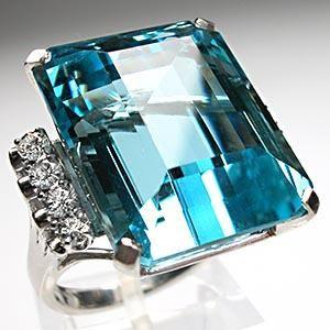 Retro vintage Natural Aquamarine & Diamond Ring Solid Platinum