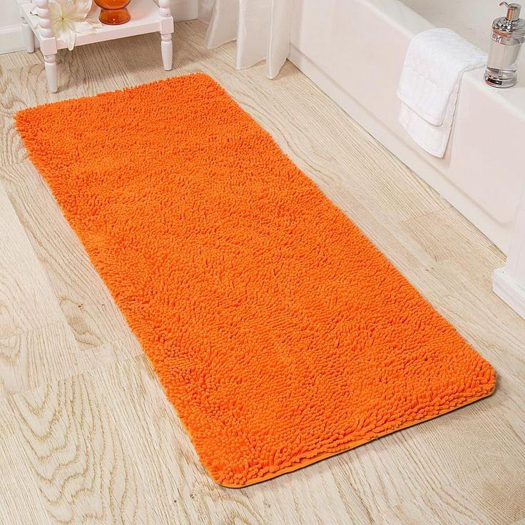 Trademark Global Lavish Home Memory Foam Shag Bath Mat 2'x5' - Orange
