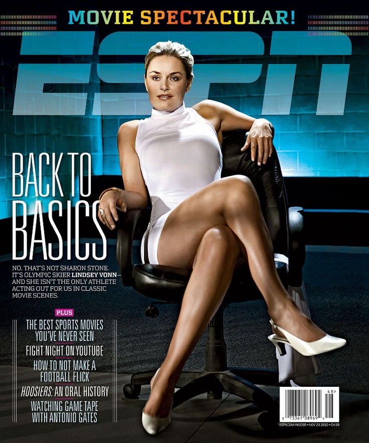"The Best ESPN The Magazine Covers - MAG 15: ESPN The Magazine's 15 Greatest Covers - http://espn.go.com/espn/photos/g... November 29, 2010 featuring Lindsey Vonn as Sharon Stone in ""Basic Instict"""