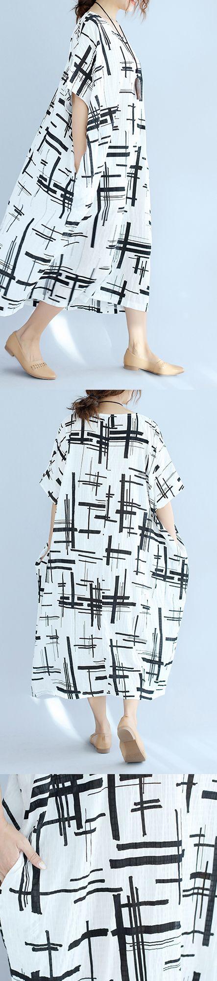 Elegant white linen dress plus size asymmetric design striped cotton dresses vintage o neck linen cotton dress