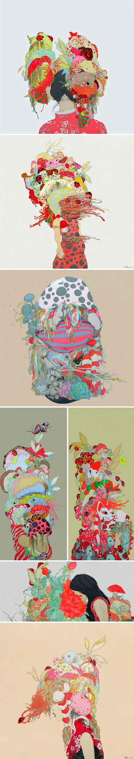 "Artist Zhou Fan - ""my paintings are based on dreams that I had as a child of many, many jellyfish floating in the sky, some of which fell to the ground on parachutes and became mushrooms. These dreams had a strong impact on me, and I remember them vividly."""