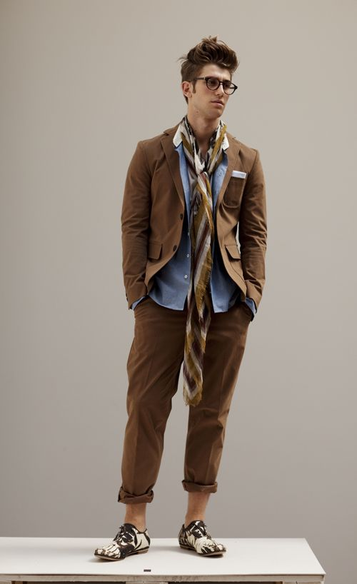 scarf instead of a tie! boho professional: Brown Suits, Men S Fashion, Men Style, Mens Fashion, Men'S Fashion, Andrea Pompilio, Hair, Man